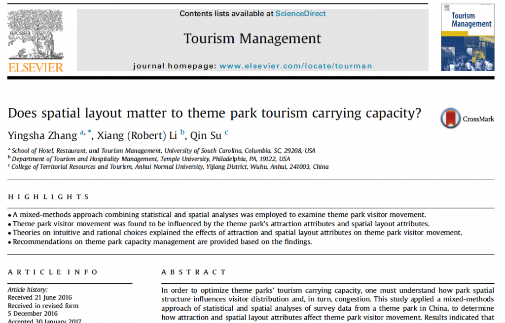 Does spatial layout matter to theme park tourism carrying capacity