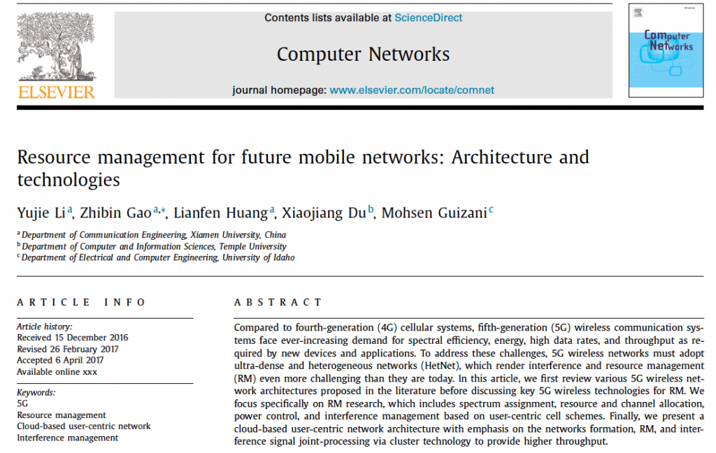 Resource management for future mobile networks- Architecture and technologies